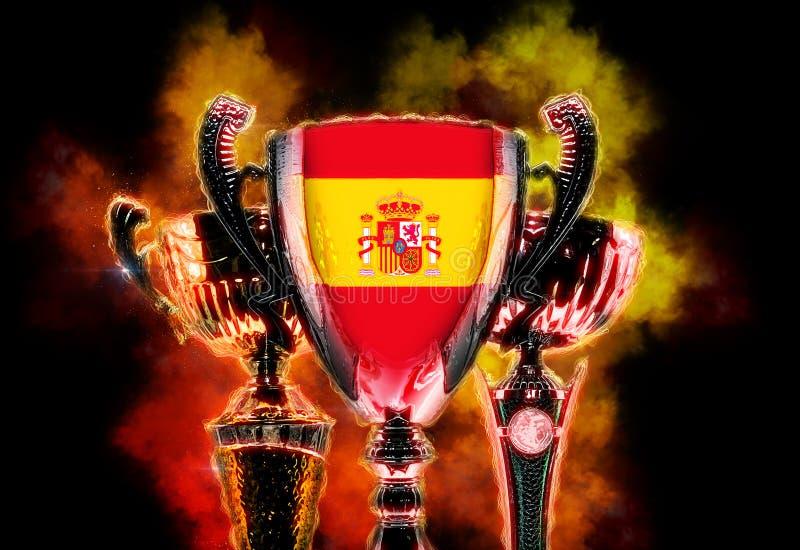 Чашка трофея текстурированная с флагом Испании Иллюстрация цифров иллюстрация штока