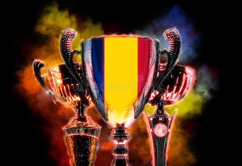 Чашка трофея текстурированная с флагом Румынии Иллюстрация цифров иллюстрация вектора