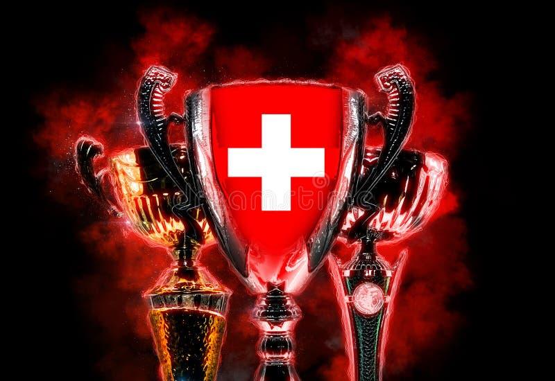Чашка трофея текстурированная с флагом Швейцарии Иллюстрация цифров иллюстрация вектора