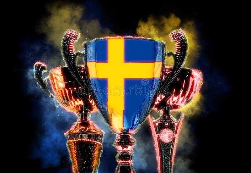 Чашка трофея текстурированная с флагом Швеции Иллюстрация цифров бесплатная иллюстрация