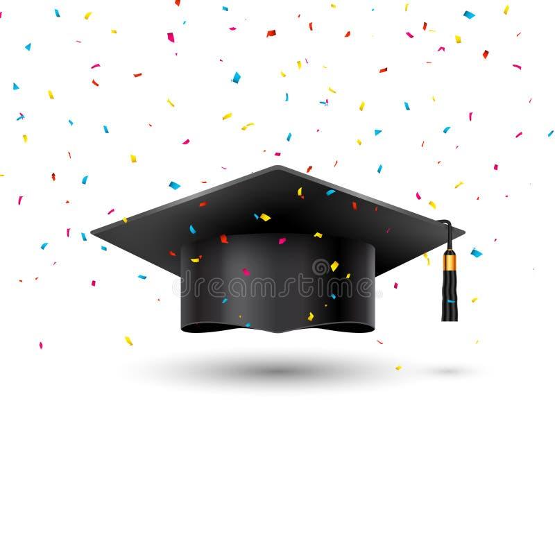 Чашка университета градации образования на белой предпосылке Шляпа студента успеха академичная для достижения школы confetti цере иллюстрация штока