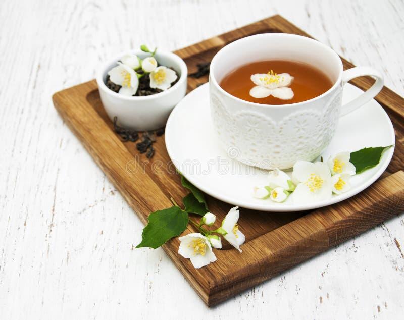 чашка цветет чай жасмина стоковая фотография rf