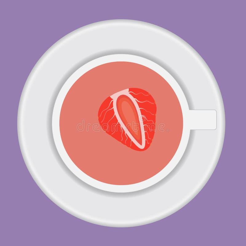 Чашка чаю вектора с клубникой стоковое фото rf