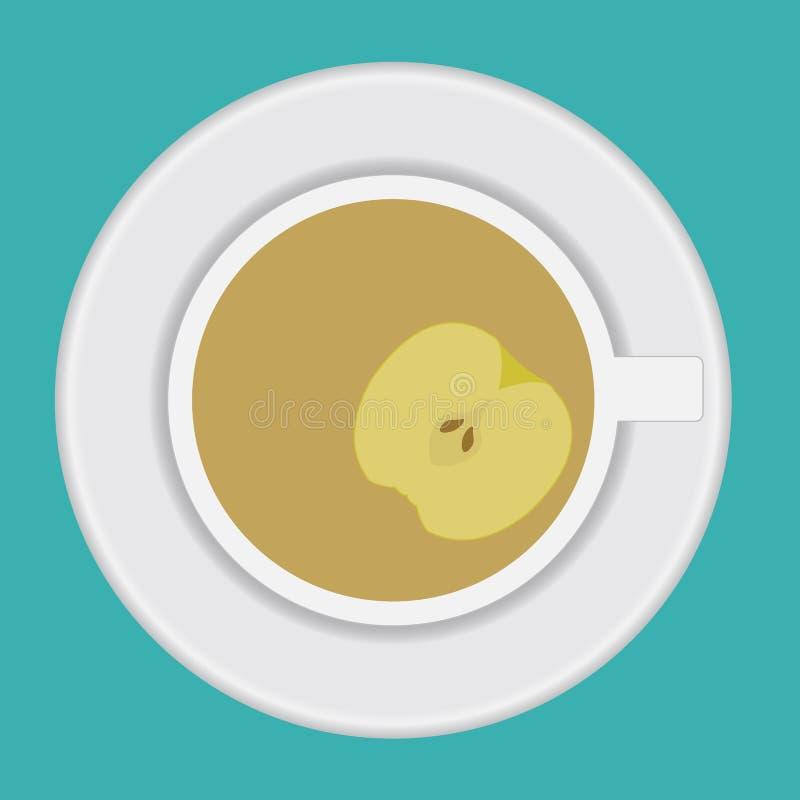 Чашка чаю вектора с яблоком стоковое фото