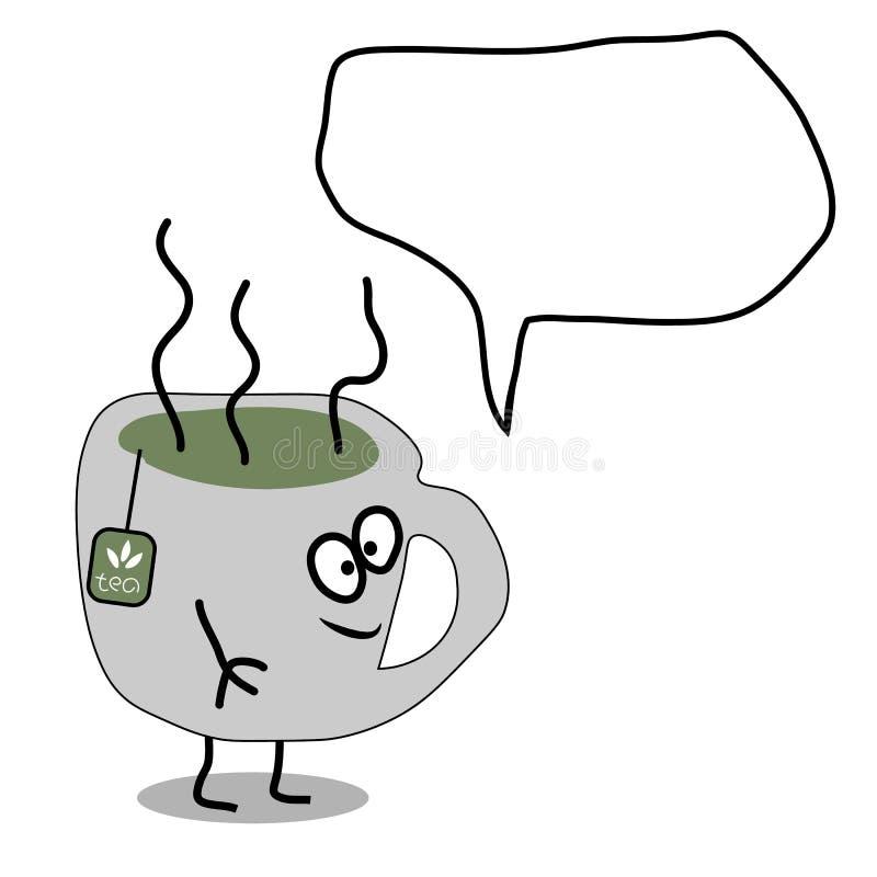 Чашка чаю вектора шаржа плоская бесплатная иллюстрация