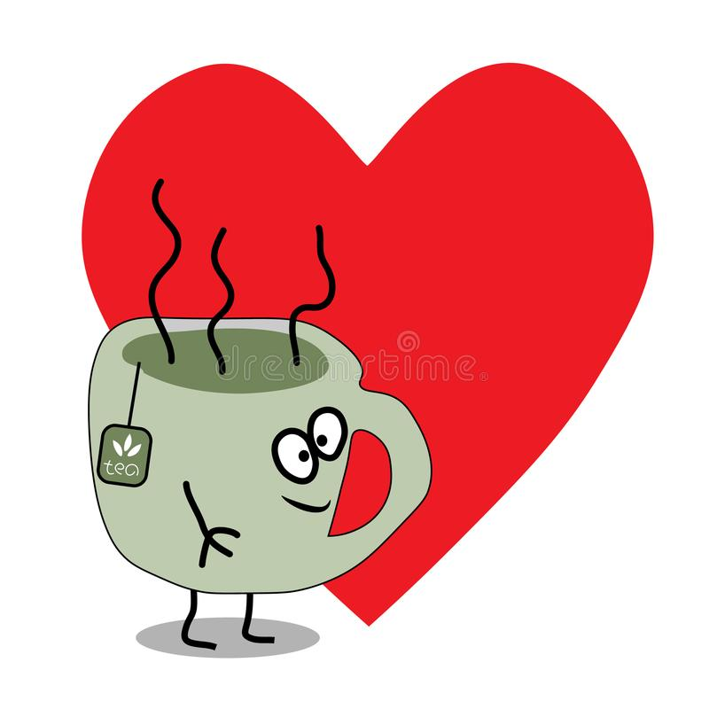 Чашка чаю вектора шаржа плоская иллюстрация штока