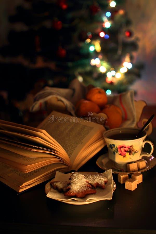Чашка чаю и открытая книга стоковое фото rf