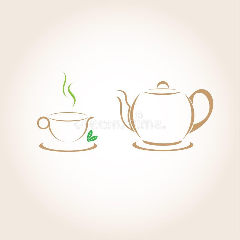 Чашка чаю и чайник бесплатная иллюстрация