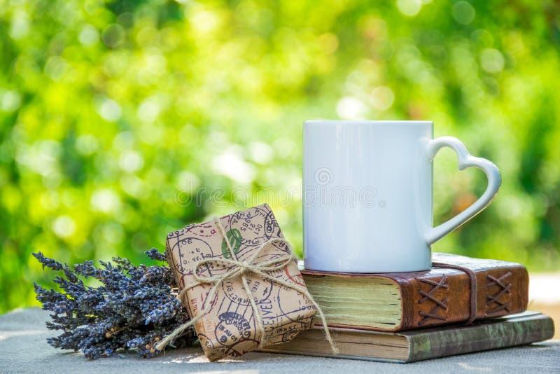 Чашка чаю, книги и подарок Романтичная предпосылка с чашкой чаю и подарочной коробкой придайте форму чашки чай сада стоковая фотография rf