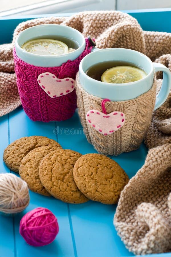 Чашка чаю 2 син в связанном свитере с сердцами чувствовала положение стоковая фотография rf