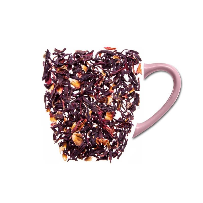 Чашка чаю сделанная от цветков гибискуса стоковые фотографии rf