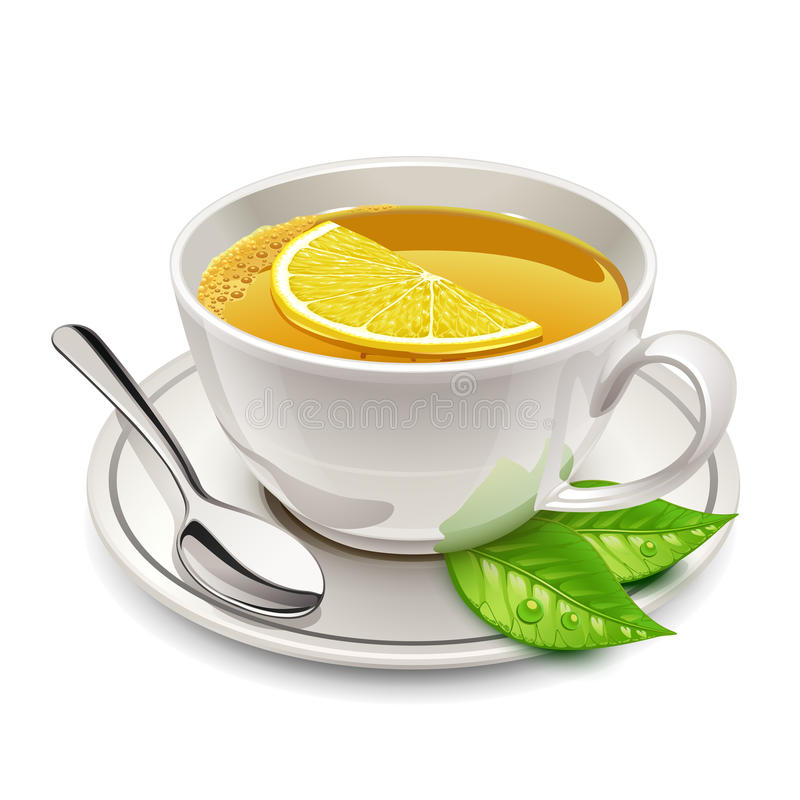 Чашка чаю с лимоном иллюстрация вектора