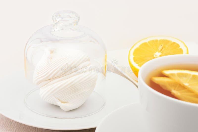 Чашка чаю с кусками и zephyr лимона стоковое изображение