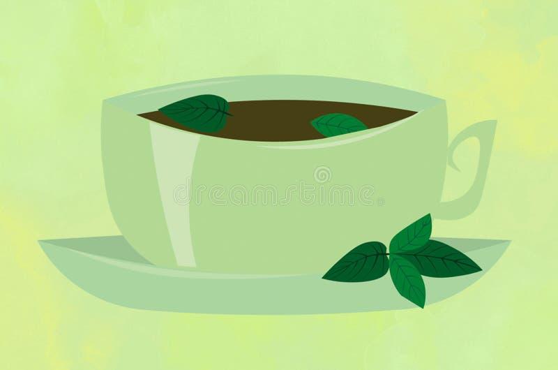 Чашка чаю с мятой на нежной зеленой предпосылке Плакат, печать стоковое фото rf