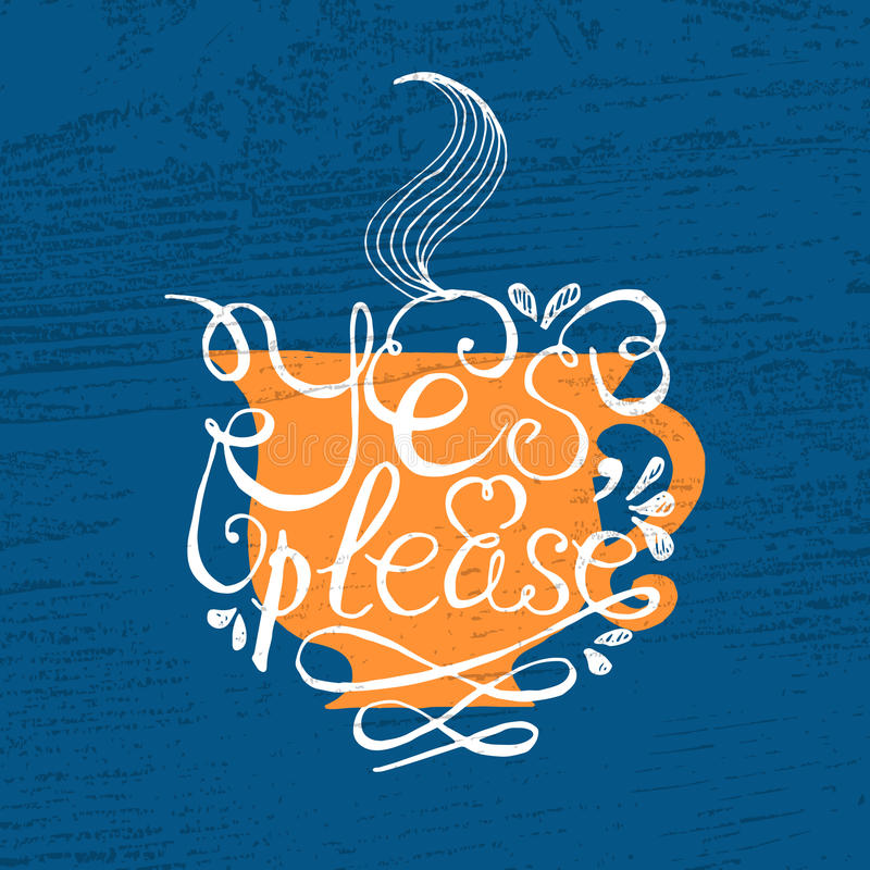 Чашка чаю с нарисованным рукой плакатом оформления иллюстрация штока