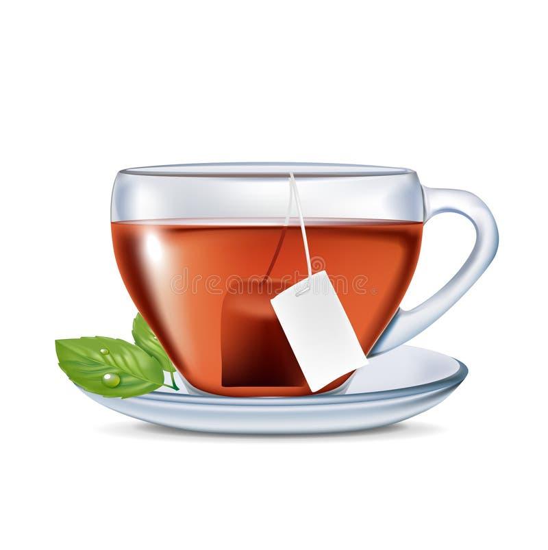 Чашка чаю с пакетиком чая и листьями иллюстрация вектора