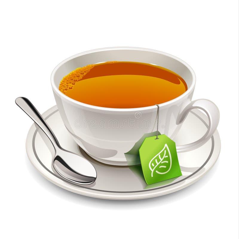 Чашка чаю с пакетиком чая иллюстрация вектора