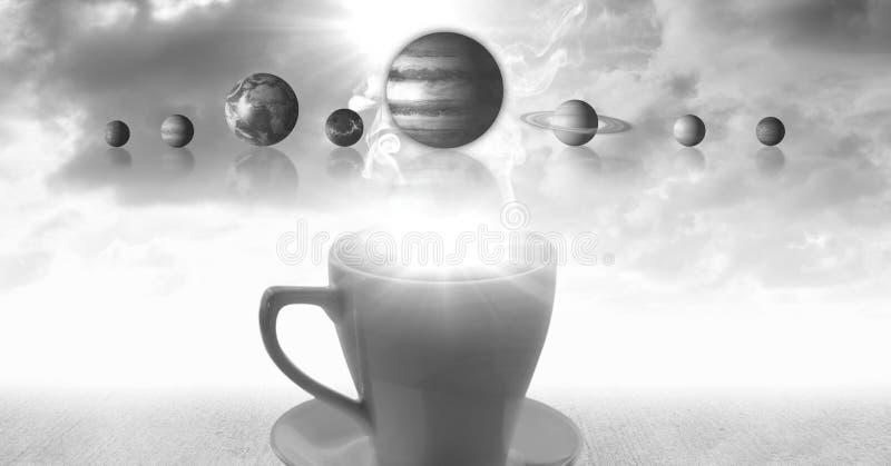 Чашка чаю с сюрреалистическими планетами и облаками солнечной системы иллюстрация вектора