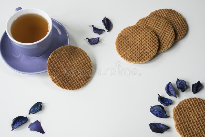 Чашка чаю с традиционным голландским печеньем сиропа, stroopwafel, на белой таблице, с пурпурным сухим leaves-2 стоковая фотография