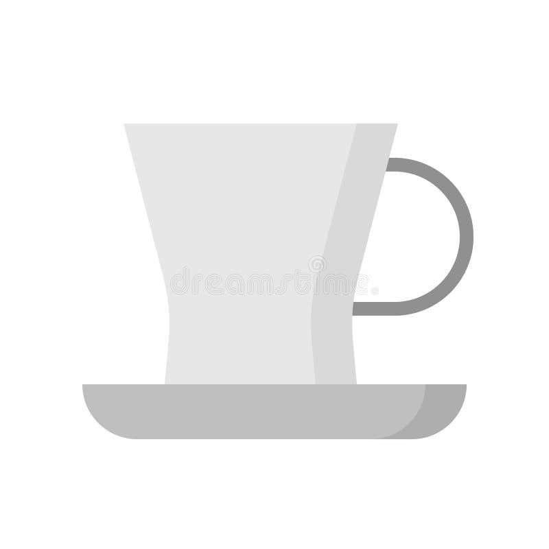 Чашка чая и поддонник, дизайн Kitchenware плоский иллюстрация вектора