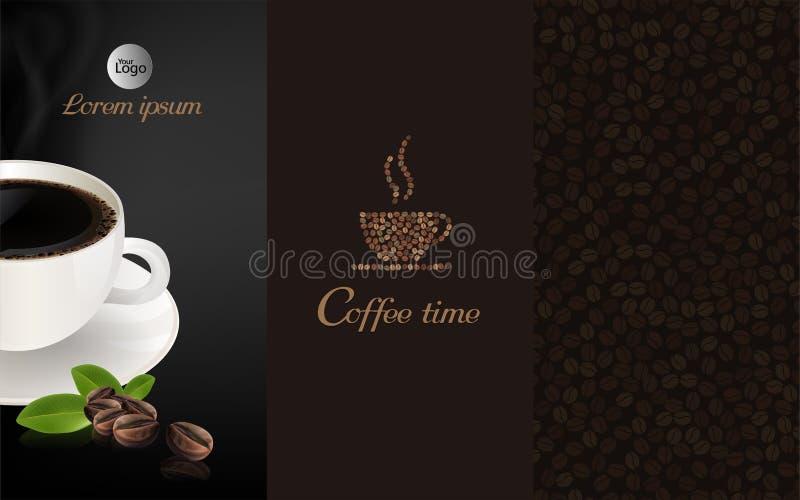 Чашка черного кофе и кофейного зерна на коричневой предпосылке, пропуская иллюстрация штока