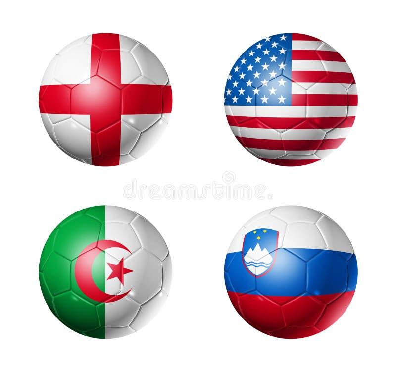 чашка c шариков flags мир футбола группы иллюстрация штока