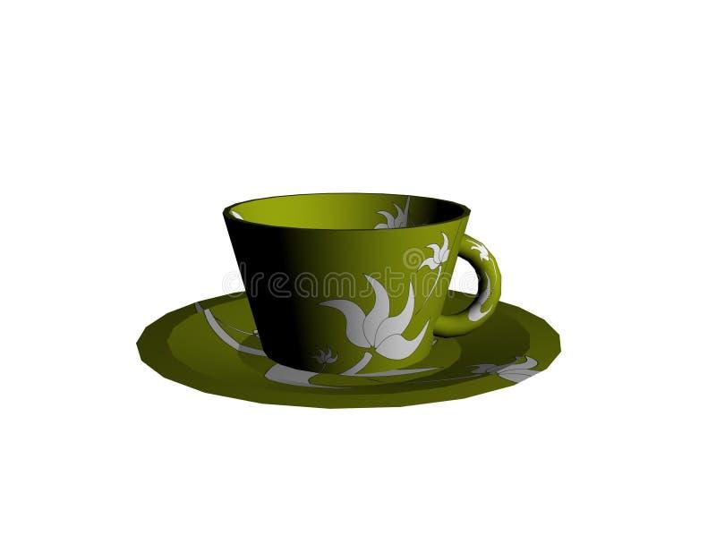 чашка 3d и поддонник иллюстрация штока