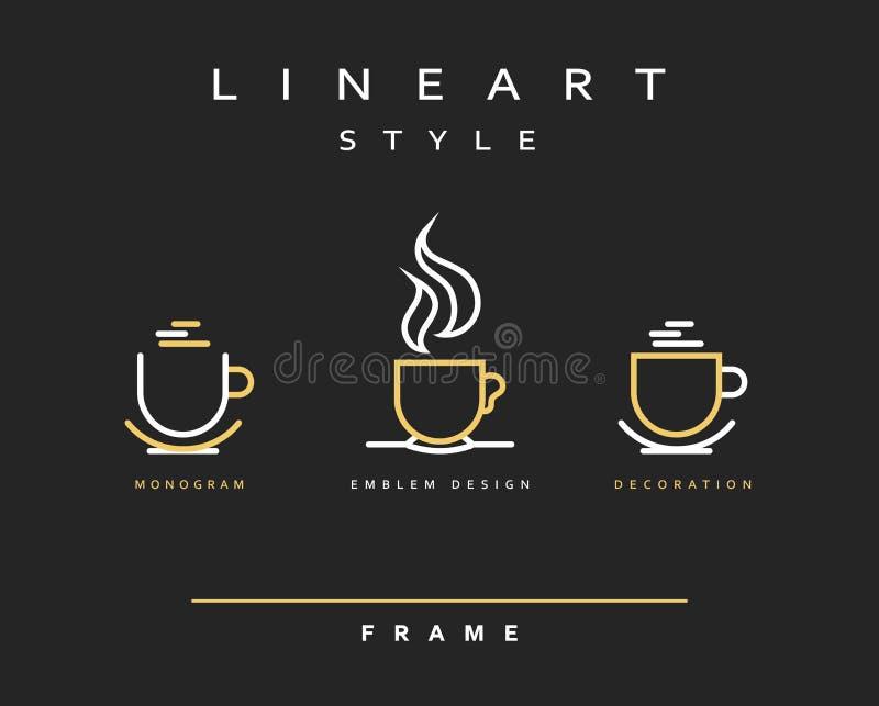 Чашки значка Линия дизайн эмблемы искусства Элегантный кофе ресторана брошюры иллюстрация штока