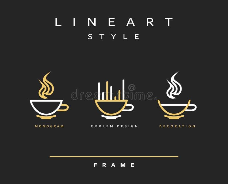 Чашки значка Линия дизайн эмблемы искусства Элегантный кофе ресторана брошюры бесплатная иллюстрация