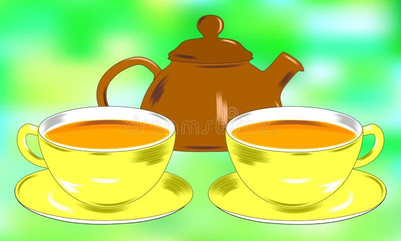 2 чашки и поддонник чая Чайник Красивая предпосылка, современные иллюстрации бесплатная иллюстрация