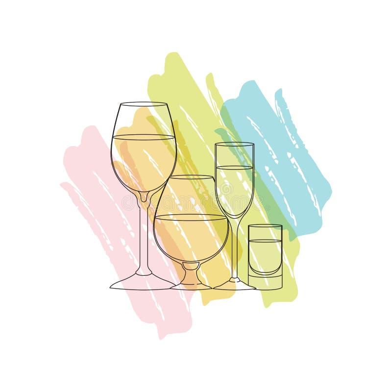 Чашки и стекла установили значки иллюстрация штока