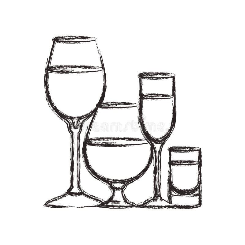 Чашки и стекла установили значки бесплатная иллюстрация