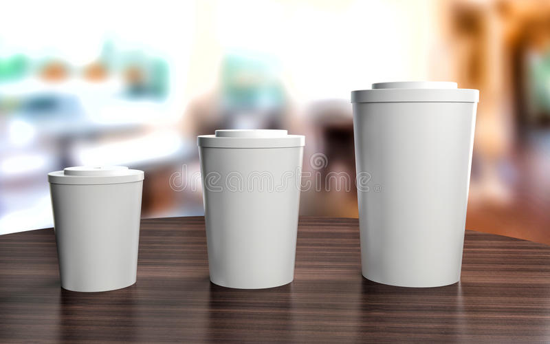 Чашки различных размеров на таблице кафа бесплатная иллюстрация