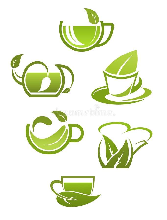 Download Чашки травяного чая с зелеными листьями Иллюстрация вектора - иллюстрации насчитывающей трава, икона: 33733358