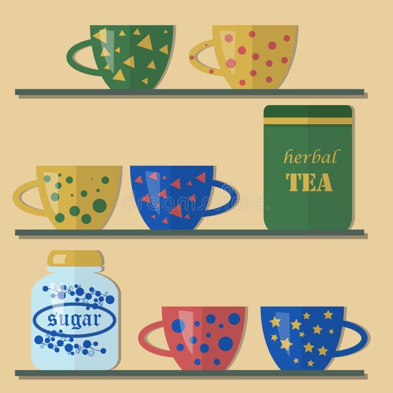 Чашки чая и опарник сахара на полке стоковые изображения rf