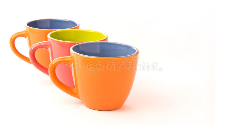 чашки 3 кофе цветастые стоковая фотография