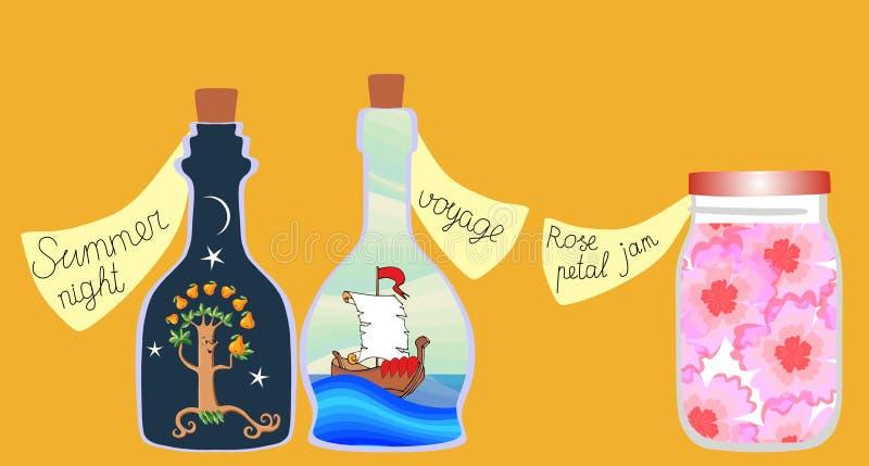 Чего мы имеем для супер сегодня? Иллюстрация милого шаржа иносказательная серии витаминов ` для ` души иллюстрация вектора