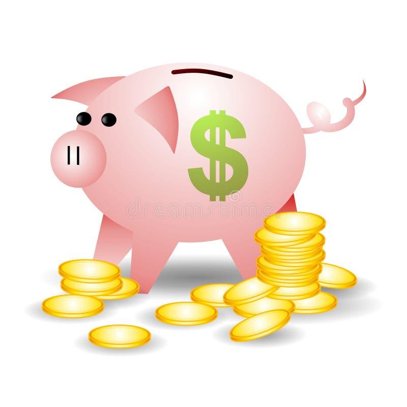 чеканит знак piggybank доллара иллюстрация вектора