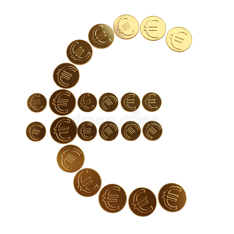 чеканит символ евро стоковые фотографии rf