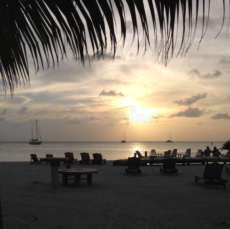 Чеканщик Caye парусников пляжа захода солнца стоковая фотография