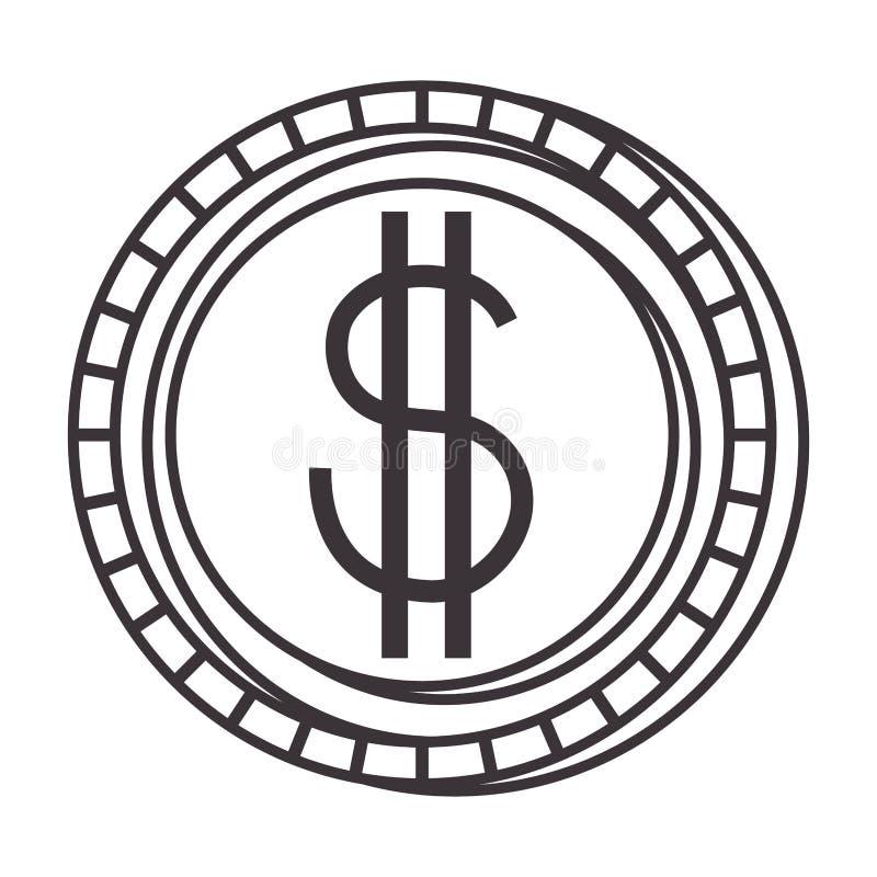 Чеканьте значок изолированный деньгами бесплатная иллюстрация