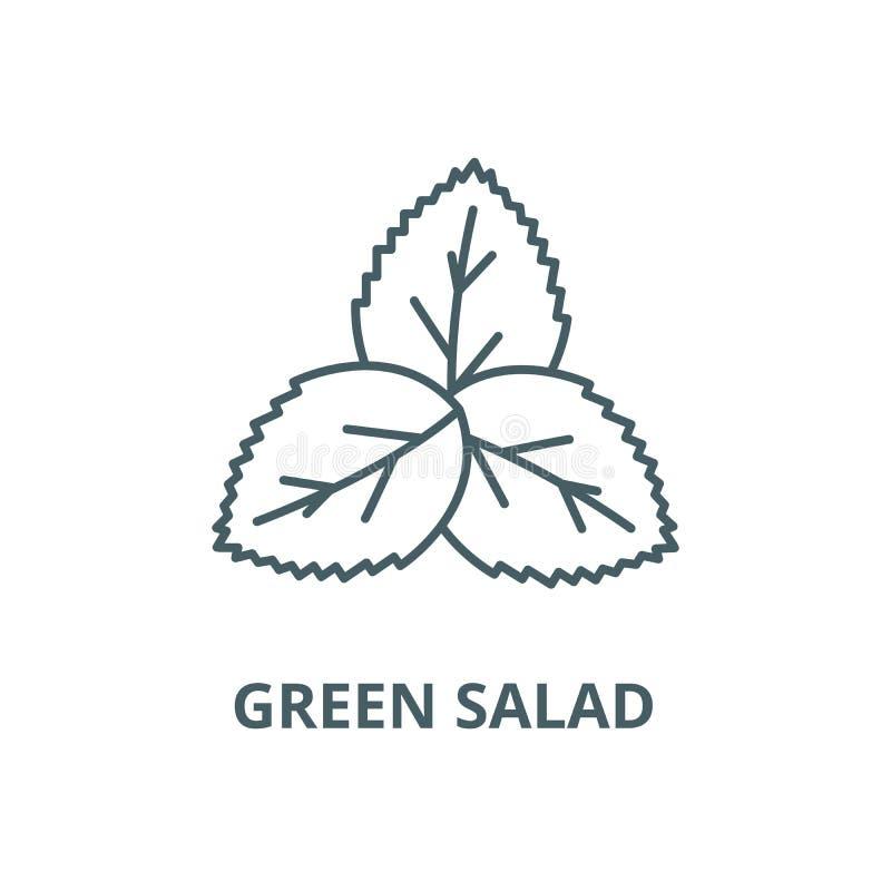 Чеканьте, линия значок вектора зеленого салата, линейная концепция, знак плана, символ иллюстрация вектора