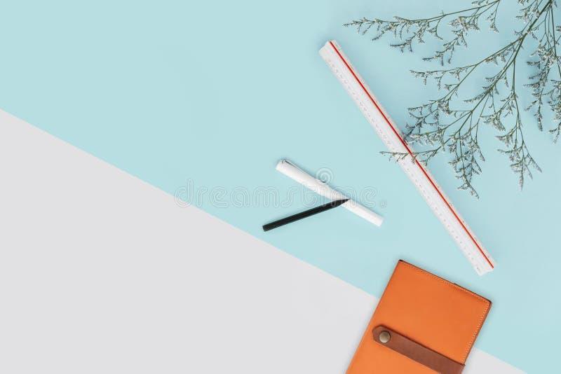 Чеканьте предпосылку зеленого цвета и белых цвета с ветвями цветка и правителем масштаба, карандашем, ручкой и тетрадью правильна стоковое изображение rf