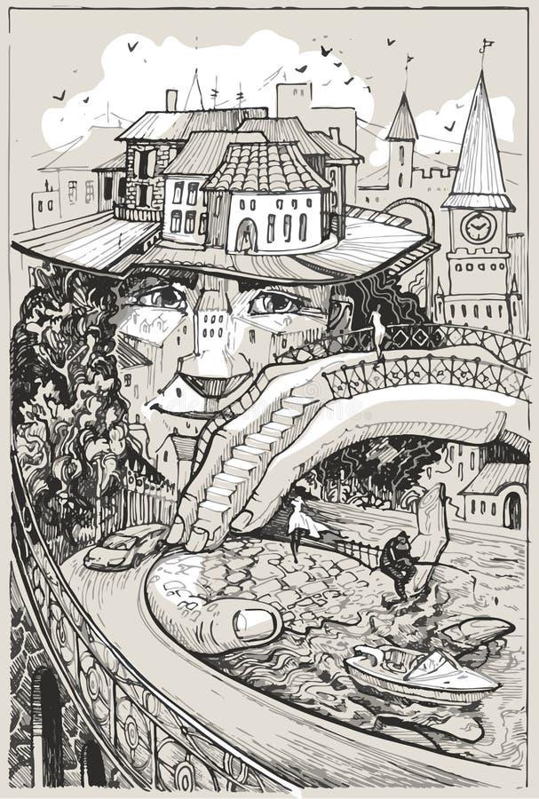 Человекоподобное воплощение малого европейского города иллюстрация штока
