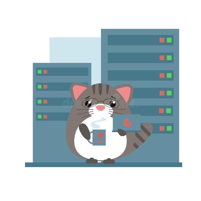Человекоподобный серый кот - положение программиста иллюстрация вектора
