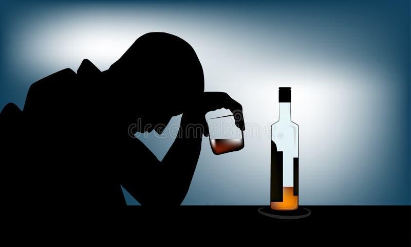 Человек алкоголизма бесплатная иллюстрация
