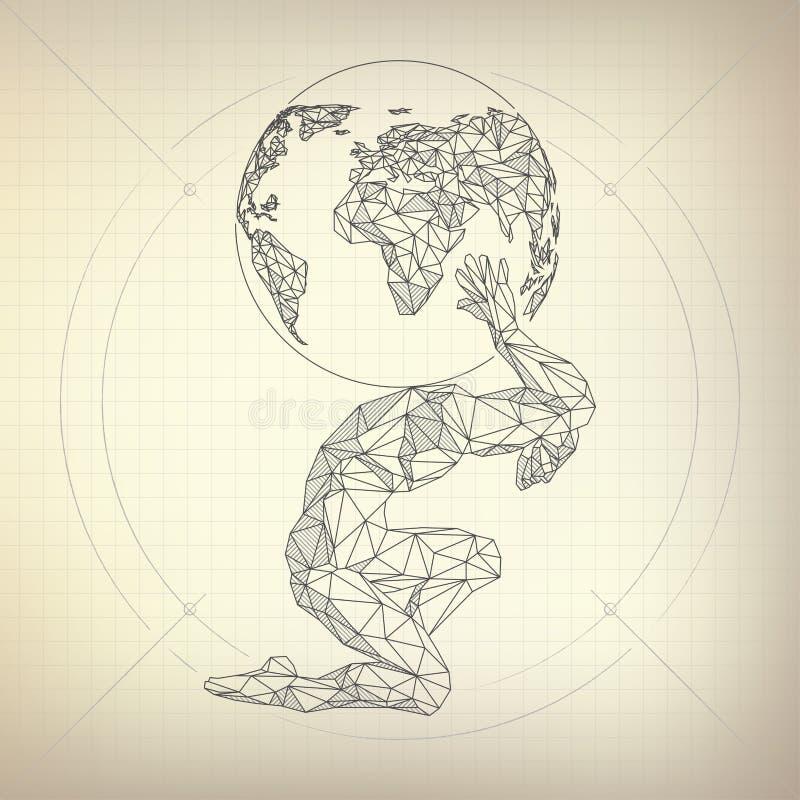 Человек атласа иллюстрация штока