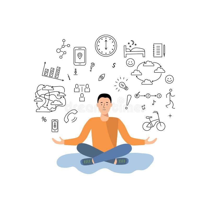 Человек балансирует между работой, получающ информацию и остатки иллюстрация штока