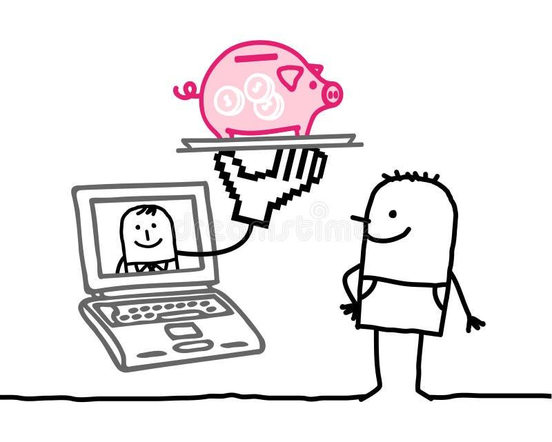 человек банка он-лайн иллюстрация вектора