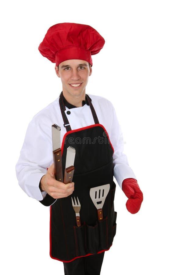 человек барбекю красивый стоковое изображение rf
